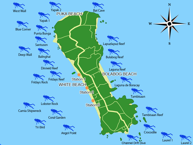 scuba diving map,island of Boracay,Philippines